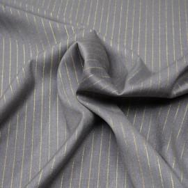 Tissu flanelle gris à motif rayure fil lurex or  x 10 cm