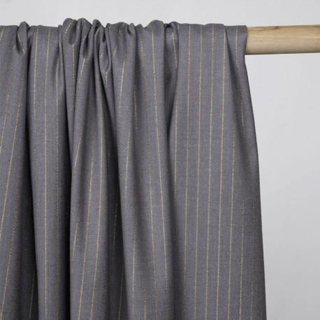 Tissu flanelle gris à motif rayure fil lurex or  - pretty mercerie - mercerie en ligne