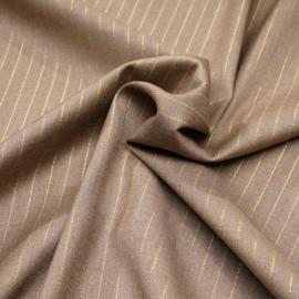 Tissu flanelle beige à motif rayure fil lurex or  x 10 cm