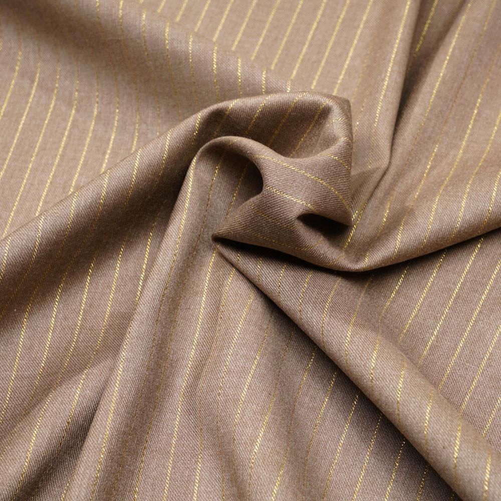 Tissu flanelle beige à motif rayure fil lurex or - pretty mercerie - mercerie en ligne