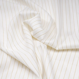 Tissu flanelle blanc cassé à motif rayure fil lurex or  x 10 cm