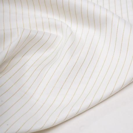Tissu flanelle blanc cassé à motif rayure fil lurex or - pretty mercerie - mercerie en ligne