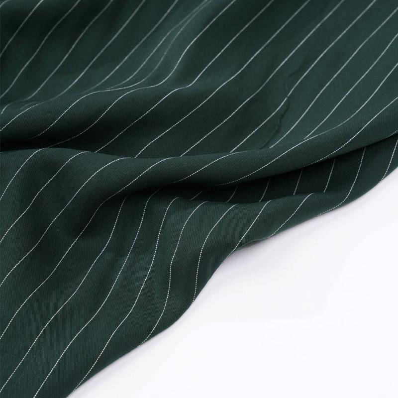 Tissu tencel sergé vert foncé à motif rayures pointillés - Pretty mercerie - mercerie en ligne