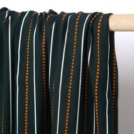 Tissu viscose vert foncé à motif lignes blanches et fleuries  - pretty mercerie - mercerie en ligne