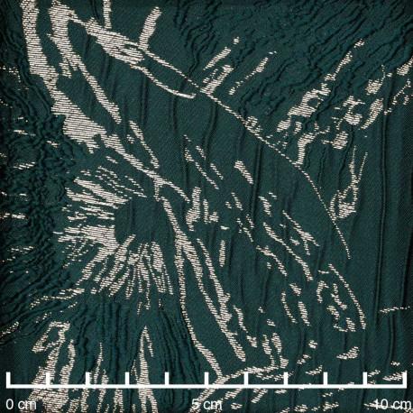 Tissu jacquard vert abstrait et fil lurex or - pretty mercerie - mercerie en ligne