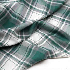 Tissu flanelle tissé à carreaux blanc cassé, vert et gris  - pretty mercerie - mercerie en ligne
