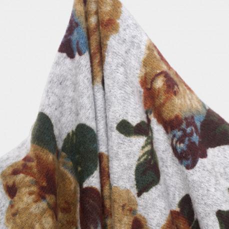 Tissu jersey gris chiné motif grosses fleurs  - pretty mercerie - mercerie en ligne