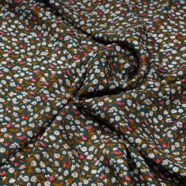 Tissu viscose vert à motif petites fleurs roses  X 10 CM