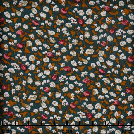 Tissu viscose vert à motif petites fleurs roses - pretty mercerie - mercerie en ligne