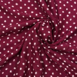Tissu viscose beaujolais à motif pois blanc cassé  X 10 CM