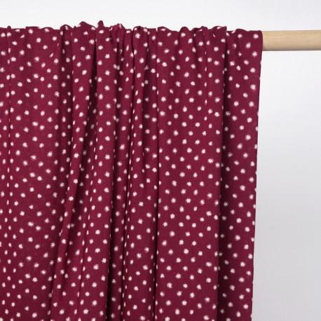 Tissu viscose beaujolais à motif pois blanc cassé  - Pretty mercerie - mercerie en ligne