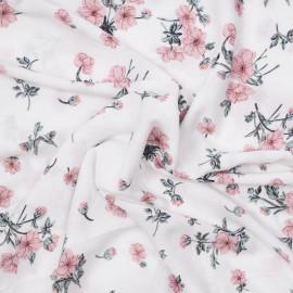 Tissu viscose blanche à motif fleuri rose et vert  X 10 CM