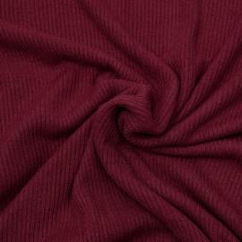 Tissu maille jersey bambou côtelé rouge tibétain  x 10cm
