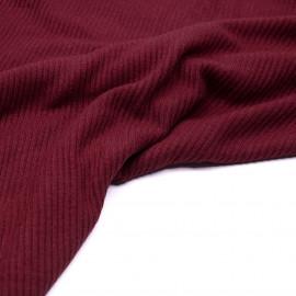 Tissu maille jersey bambou côtelé rouge tibétain- pretty mercerie - mercerie en ligne