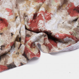 Tissu maille jersey bouquet fleuri rose, rouge, gris - pretty mercerie - mercerie en ligne