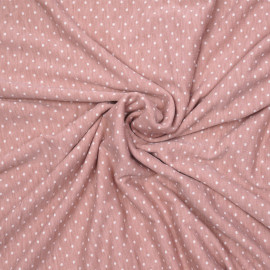 Tissu jersey rose poudré à motifs petits pois blanc x 10cm