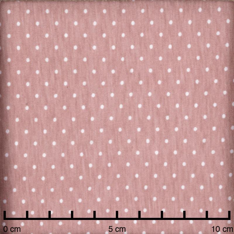 Tissu jersey rose poudré à motifs petits pois blanc - pretty mercerie - mercerie en ligne