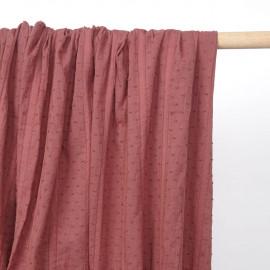 Tissu coton plumetis et bandes brodées rose vieilli  - pretty mercerie - mercerie en ligne