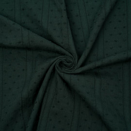 Tissu coton plumetis et bandes brodées vert jungle x 10cm