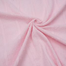Tissu coton plumetis et bandes brodées rose pâle x 10cm