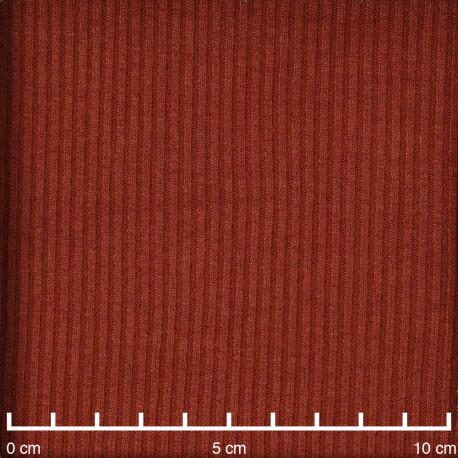 Tissu maille jersey bambou côtelé ginger spice  - pretty mercerie - mercerie en ligne