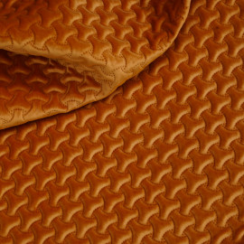 Tissu matelassé velours burnt orange à motif graphique x 10cm