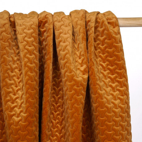 Tissu matelassé velours burnt orange à motif graphique - pretty mercerie - mercerie en ligne