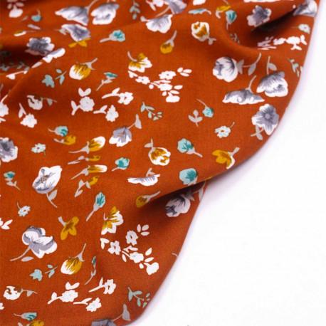 Tissu viscose ocre brulé à motif fleuri moutarde lavande vert agathe et blanc - pretty mercerie - mercerie en ligne