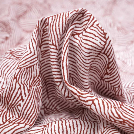 Tissu lin et viscose à motif graphique imprimé blanc et rosewood - pretty mercerie - mercerie en ligne