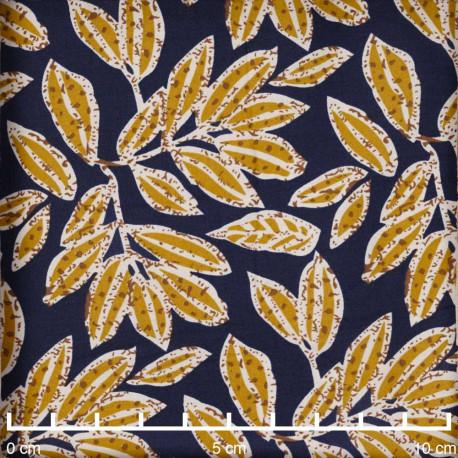 Tissu coton bleu marine à motif fleuri moutarde  - pretty mercerie - mercerie en ligne