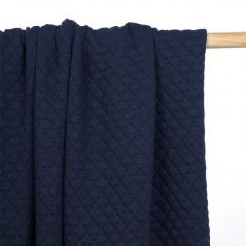 Tissu matelassé bleu indigo à motif graphique - Pretty mercerie - mercerie en ligne