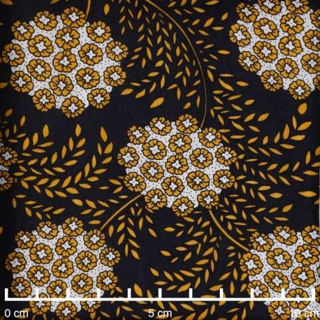 Tissu viscose noir à motif fleuri mimosa  - pretty mercerie - mercerie en ligne