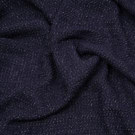 tissu maille tricoté bleu marine et fil lurex or x 10cm
