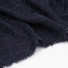 tissu maille tricoté bleu marine et fil lurex or  - pretty mercerie - mercerie en ligne
