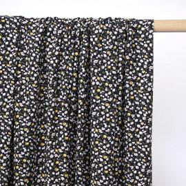 Tissu viscose bleu marine à motif petites fleurs jaunes  - pretty mercerie - mercerie en ligne