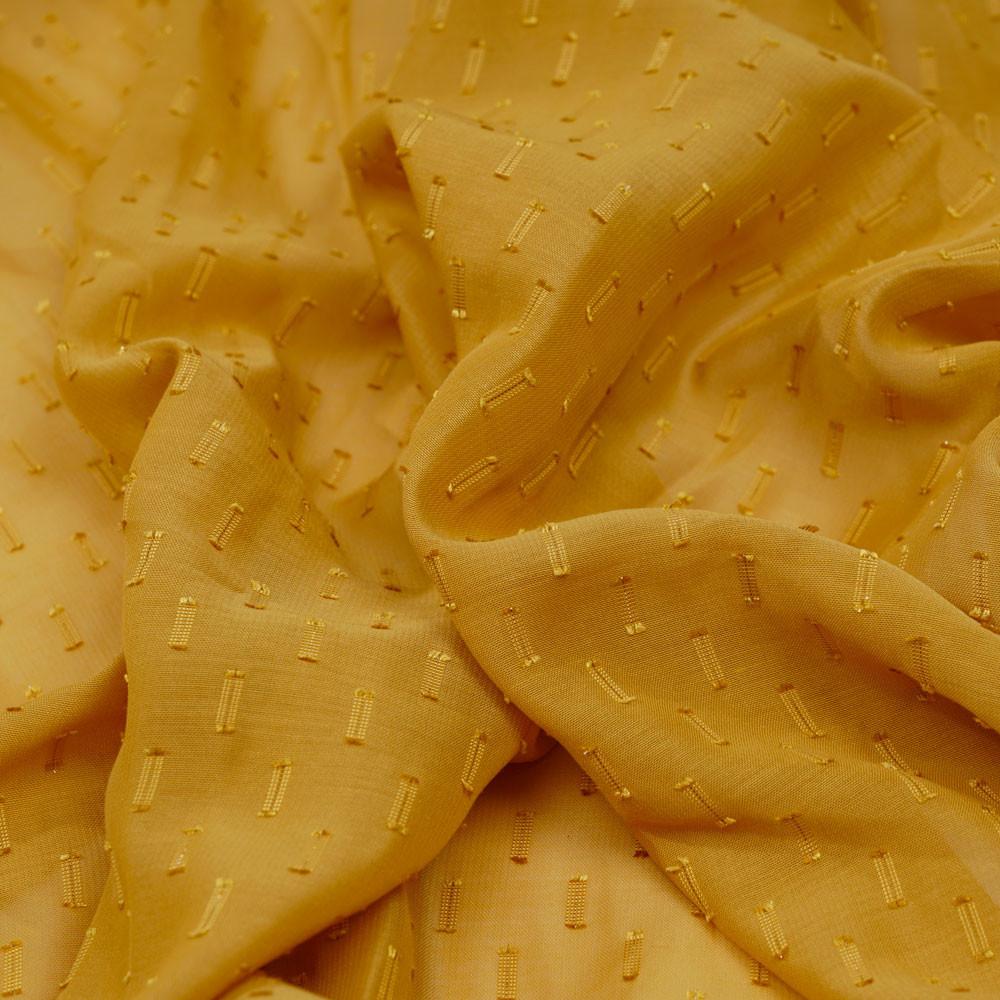 Tissu mousseline moutarde à motif plumetis satiné et fil lurex or - pretty mercerie - mercerie en ligne