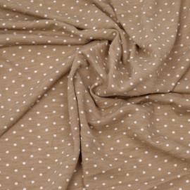 Tissu jersey praline à motifs petits pois blanc x 10cm