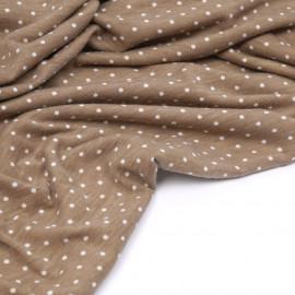 Tissu jersey praline à motifs petits pois blanc - pretty mercerie - mercerie en ligne