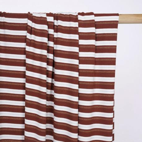Tissu jersey modal côtelé et rayé sequoia et blanc et fil lurex or et argent - pretty mercerie - mercerie en ligne