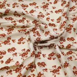 Tissu viscose crème brulée à motif fleuri ginger X 10 CM