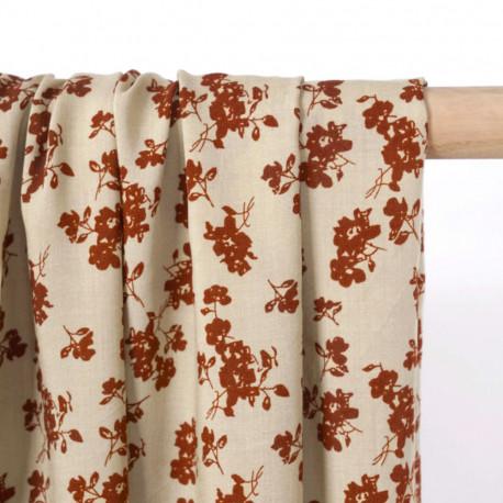 Tissu viscose crème brulée à motif fleuri ginger - pretty mercerie - mercerie en ligne