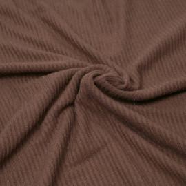 Tissu maille jersey bambou côtelé chocolat x 10cm