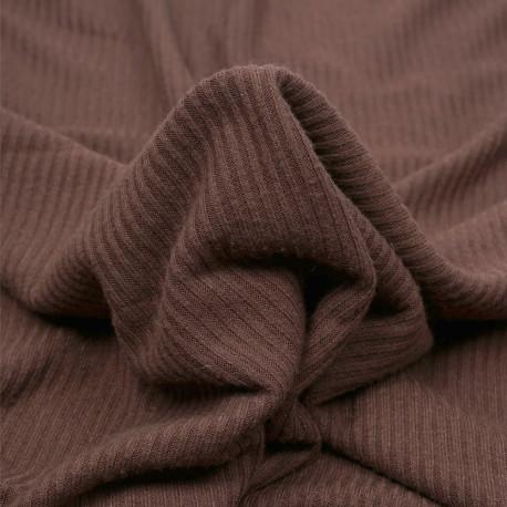 Tissu maille jersey bambou côtelé chocolat - pretty mercerie - mercerie en ligne