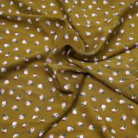Tissu viscose tapenade à motif petites fleurs roses et violettes  X 10 CM