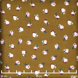 Tissu viscose tapenade à motif petites fleurs roses et violettes  - pretty mercerie - mercerie en ligne