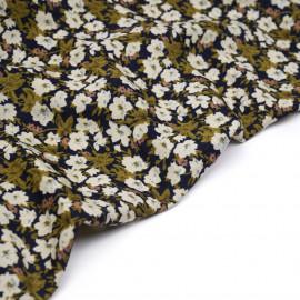 Tissu bleu marine à motif fleuri kaki et rose - pretty mercerie - mercerie en ligne