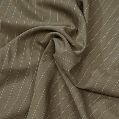 Tissu tencel sergé olive à motif rayures pointillés blanches - pretty mercerie - mercerie en lign