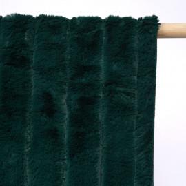 Tissu fausse fourrure vert foncé à rayures verticales x 10cm