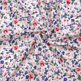 Tissu coton blanc cassé à motif fleuri fuchsia, bleu et vert  X 10 CM
