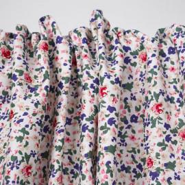 Tissu coton blanc cassé à motif fleuri fuchsia, bleu et vert  - pretty mercerie - mercerie en ligne